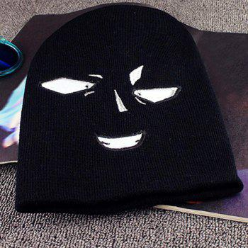 Warm Face Embroidery Funny Knit Beanie - BLACK