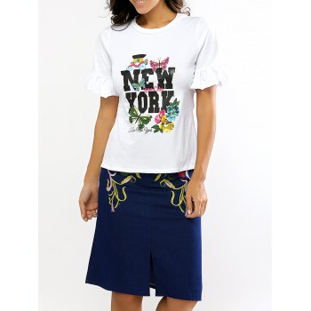 Petal Sleeve Print T-Shirt and Embroidery Skirt