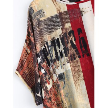 Flag Pattern Dolman Sleeves Chiffon Patriotic Dress - COLORMIX ONE SIZE