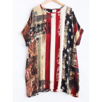 Flag Pattern Dolman Sleeves Chiffon Patriotic Dress