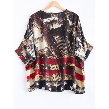 Dolman Sleeves Striped Printed Blouse - COLORMIX ONE SIZE