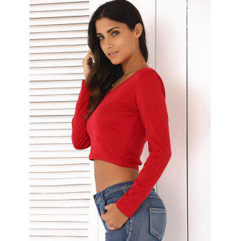 V-Neck Long Sleeve Slimming Crop Top - RED XL