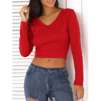 V-Neck Long Sleeve Slimming Crop Top