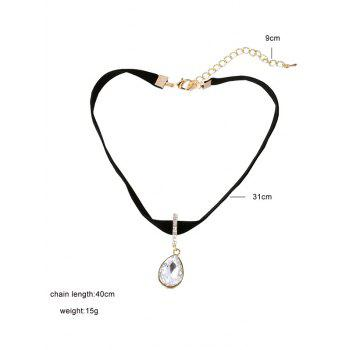 Faux Crystal Water Drop Choker Necklace - BLACK