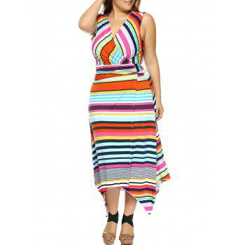 Plus Size Colorful Striped Irregular Dress