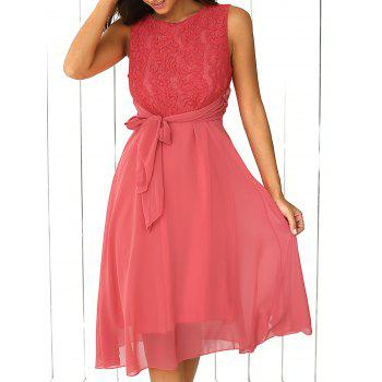 Lace Inset Chiffon A Line Swing Summer Dress
