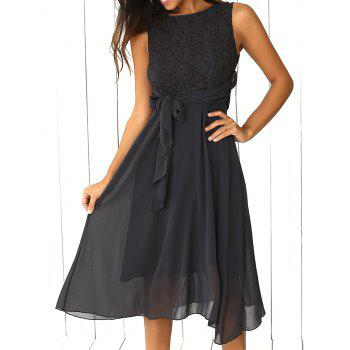 Sleeveless Lace Splicing Dress