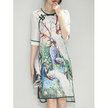 Peacock Print Irregular Cheongsam Dress