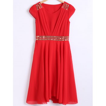 Rhinestone Embellished Pleated High Waist Chiffon Dress