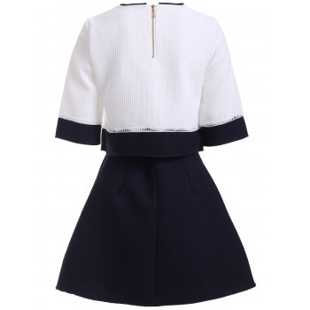 Preppy Color Block Blouse and High Waist A Line Skirt Twinset - BLACK L