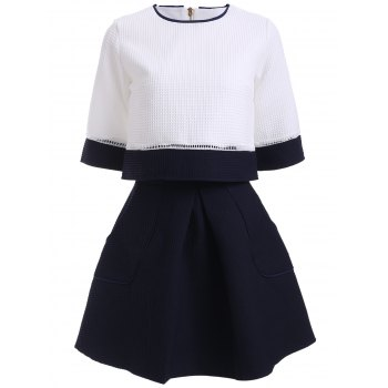 Preppy Color Block Blouse and High Waist A Line Skirt Twinset