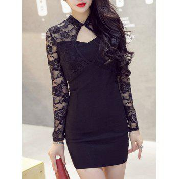 Front Cut Out Mandarin Collar Long Sleeve Lace Dress