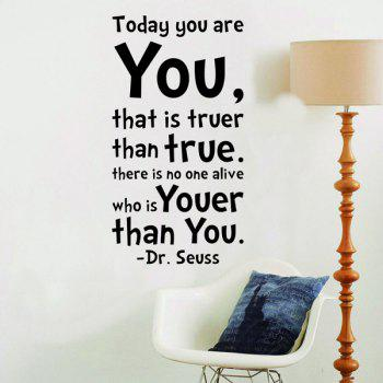 Today You Are Quote Bedroom Wall Sticker - BLACK
