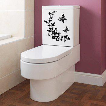 Toilet Closestool Butterfly and Flower Rattan Pattern Wall Sticker