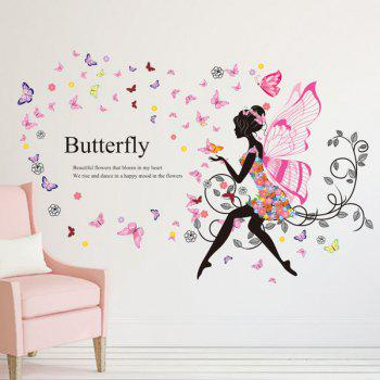 Fairy With Wings Blossom Butterfly Pattern Wall Sticker - PINK