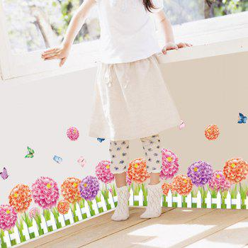 Fence Flower and Butterfly Pattern Room Decor Wall Sticker