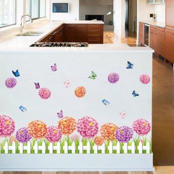 Fence Flower and Butterfly Pattern Room Decor Wall Sticker - ROSE RED