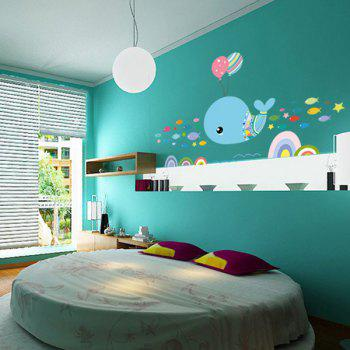 Novelty Cartoon Whale Removable Decorative Wall Art Sticker - COLORMIX