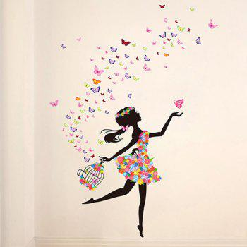 Novelty Colorful Mariposa Dancing Girl Removable Wall Sticker - COLORMIX
