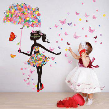 Novelty Colorful Mariposa Umbrella Girl Removable Wall Sticker - COLORMIX