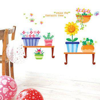 Novelty Cartoon Pastoral Potted Removable Wall Art Sticker - COLORMIX