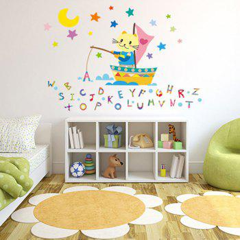 Cartoon Alphabet Letters Cat Fishing Removable Wall Sticker - COLORMIX