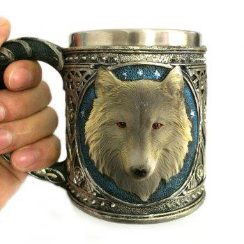 450ml Creative Double Wall Stainless Steel 3D Animal Wolf Head Mug