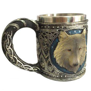 450ml Creative Double Wall Stainless Steel 3D Animal Wolf Head Mug - COLORMIX