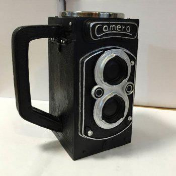 High Quality 300ML Resin Retro Camera Stainless Steel Single Layer Export Mug - BLACK BLACK