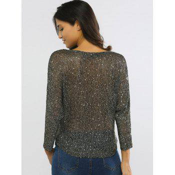 Glittery Hollow Out Jewel Neck Knitted Top - BLACK ONE SIZE