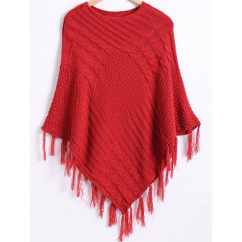 Pure Color Textured Fringed Knitted Cape