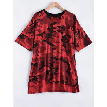 Cut Out Camo Print High Low T-Shirt Dress