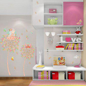 Fairy On Dandelion Design Bedroom Wall Sticker - PINK