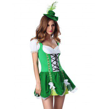 Feather Hat and Sweatheart Neck Laciness Dress - GREEN L