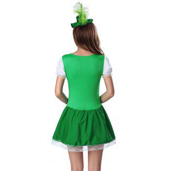 Feather Hat and Sweatheart Neck Laciness Dress - GREEN M