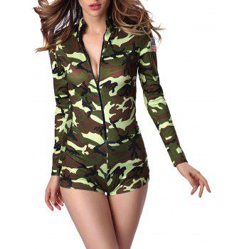Letter Cap and Camo Printed Zipped Romper - GREEN XL