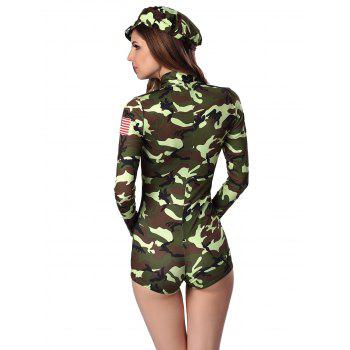 Letter Cap and Camo Printed Zipped Romper - XL XL
