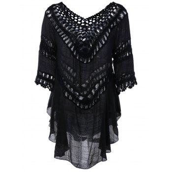 Plunge V Neck Crochet Loose See-Through Blouse