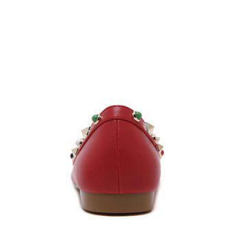 Bead Rivet Pointu Chaussures plates - Rouge 37