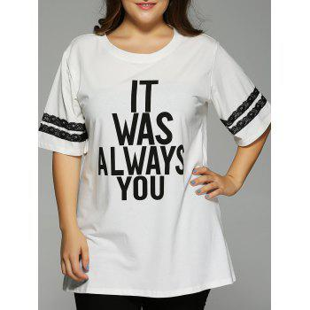 Plus Size 1/2 Sleeve Letter T-Shirt - WHITE XL