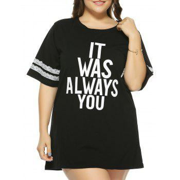 Plus Size 1/2 Sleeve Letter T-Shirt - BLACK 5XL