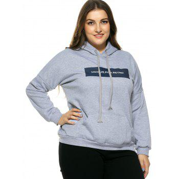 Plus Size Hooded Long Sleeve Letter Hoodie - 3XL 3XL