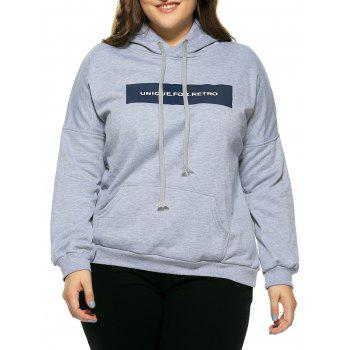 Plus Size Hooded Long Sleeve Letter Hoodie - GRAY GRAY