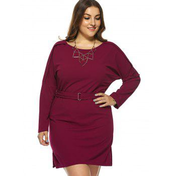 Plus Size Jewel Neck Long Sleeve Dress - RED RED