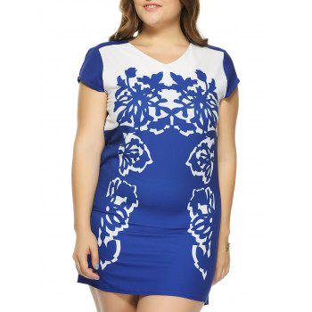 Plus Size V Neck Casual Short Sleeve Dress - BLUE 2XL