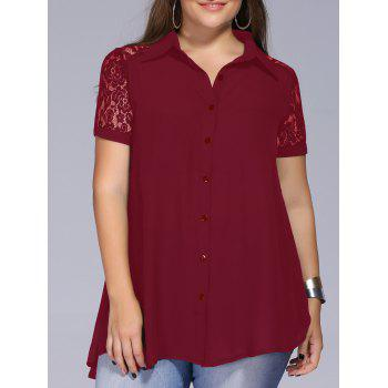 Lace Trim Plus Size Tunic Blouse - WINE RED 3XL