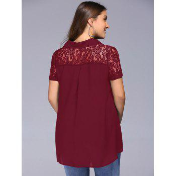Lace Trim Plus Size Tunic Blouse - WINE RED 2XL