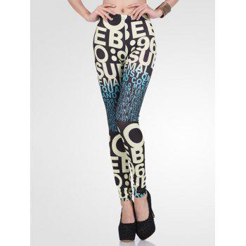 High-Waisted Stretchy Ombre Letter Print Leggings