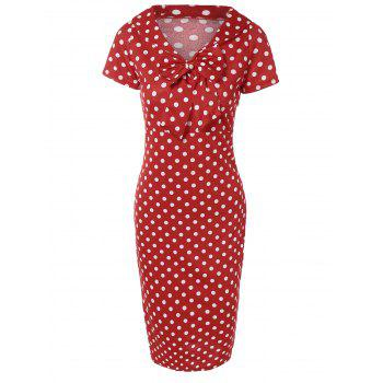 Preppy Bow Polka Dot Bodycon Dress