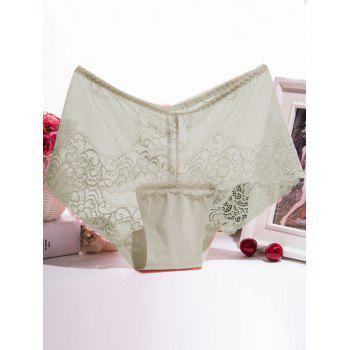 Floral Lace Splicing Scalloped Briefs - COMPLEXION ONE SIZE